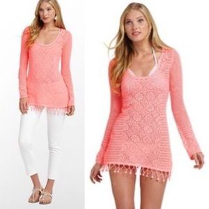 Lilly Pulitzer | Neon pink crochet sweater